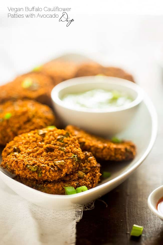 Vegan Buffalo Patties with Avocado Dip - These patties taste just like buffalo chicken, but they're totally meat free and made with cauliflower and quinoa! They're a spicy, crunchy and creamy appetizer for game day! | Foodfaithfitness.com | @FoodFaithFit