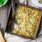 Quinoa Casserole with Cauliflower Alfredo Sauce, Spinach and Artichokes {Gluten Free + Super Simple}