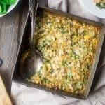 Quinoa Casserole with Cauliflower Alfredo Sauce, Spinach and Artichokes {Gluten Free + Super Simple}