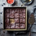 Vegan Brownies with Berries and Tahini