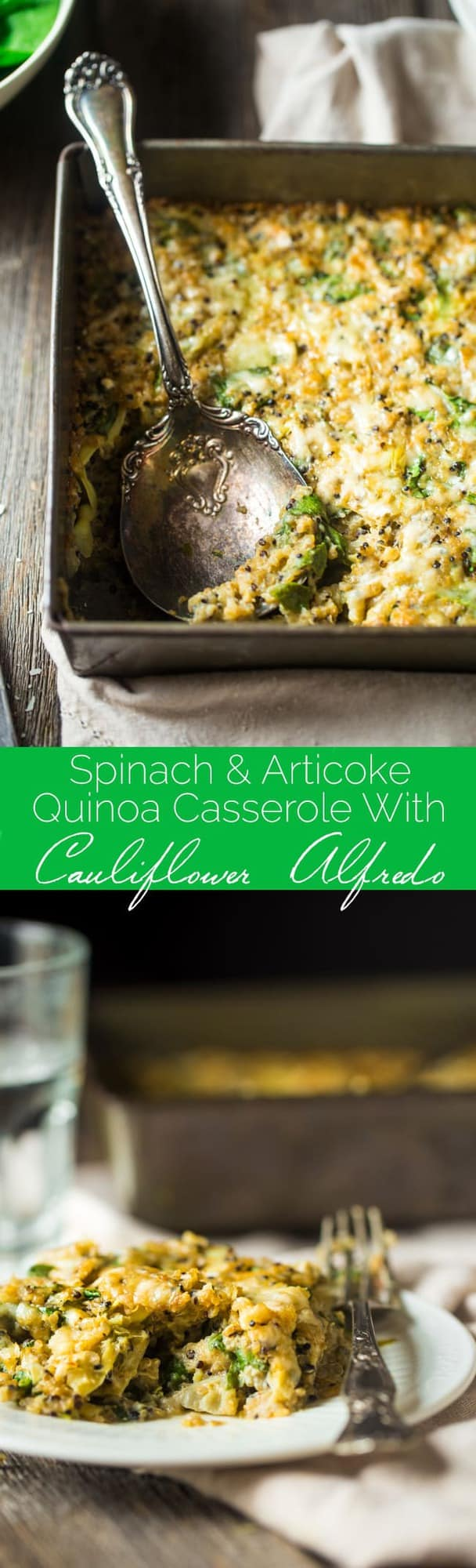 Spinach and Artichoke Quinoa Casserole with Cauliflower Alfredo Sauce - This creamy, gluten free quinoa casserole tastes like spinach and artichoke dip in a healthy, weeknight dinner form! No one will it has hidden veggies and is only 180 calories and 5 SmartPoints! | Foodfaithfitness.com | @FoodFaithFit