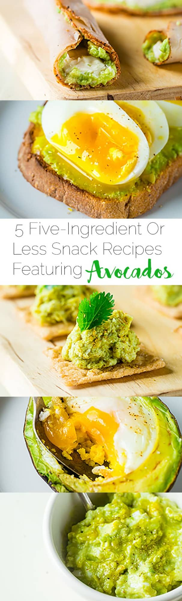 5 Five-Ingredient or Less Snack Recipes with Avocados - A list of 5 healthy snack recipes that feature avocado and have 5 ingredients or less! A great resource to find easy, simple snack ideas in one place! | Foodfaithfitness.com | @FoodFaithFit
