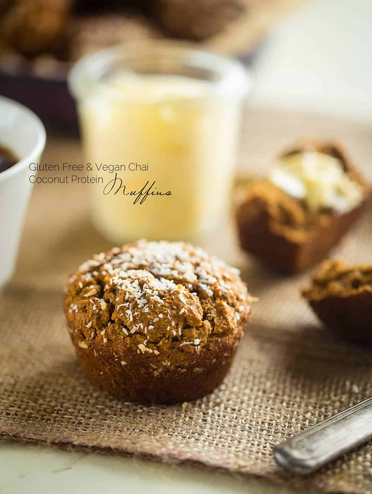 Gluten Free Vegan Vanilla Chai Protein Muffins - These are muffins are loaded with spicy-sweet chai flavor, protein and are SO easy to make! Perfect for a portable, healthy breakfast or snack that freezes well! | Foodfaithfitness.com | @FoodFaithFit