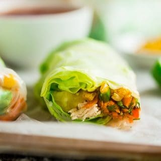 BBQ Chicken Summer Rolls {Gluten Free + High Protein}