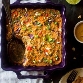 Rainbow Cauliflower Casserole with Thai Peanut Chicken {Low Carb + Gluten/Grain Free + High Protein}