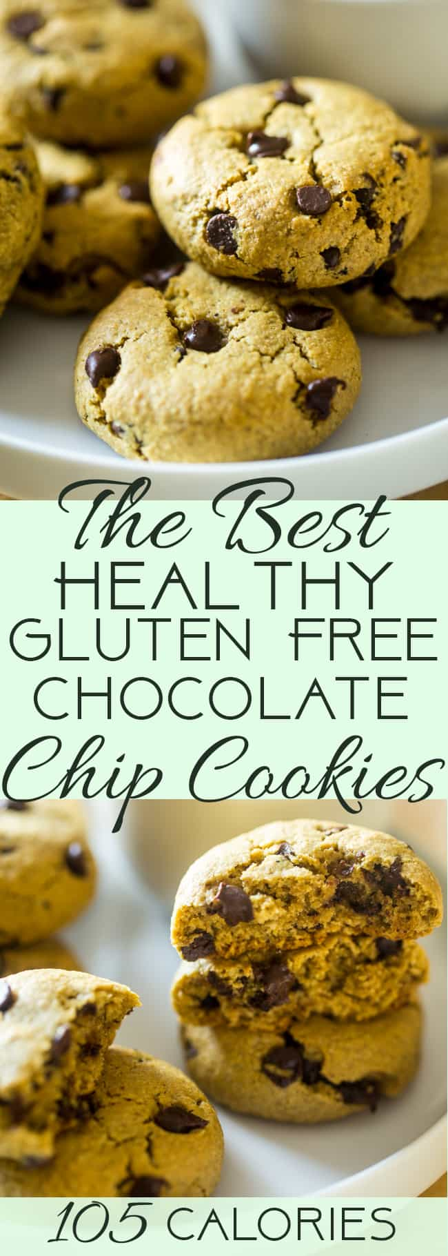 Easy Healthy Gluten Free Chocolate Chip Cookies - SO big, soft and chewy that you would never believe they are butter and oil free and use a secret, heart-healthy ingredient to make them low fat and only 105 calories! | Foodfaithfitness.com | @FoodFaithFit | chewy gluten free chocolate chip cookies. gluten free chocolate chip cookies recipe. simple gluten free chocolate chip cookies. soft gluten free chocolate chip cookies. homemade gluten free chocolate chip cookies. healthy chocolate chip cookies. 100 calorie chocolate chip cookies. easy chocolate chip cookies. chocolate chip cookies with avocado. avocado dessert recipes.