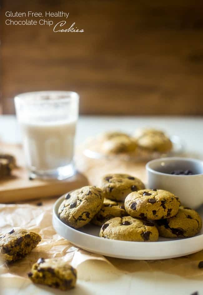 Healthy Gluten Free Chocolate Chip Cookies - These are SO soft and chewy, you'd never know they are butter/oil free and use a secret ingredient to make them heart healthy, low fat and only 104 calories and 4 WW SmartPoints per serving! | Foodfaithfitness.com | @FoodFaithFit