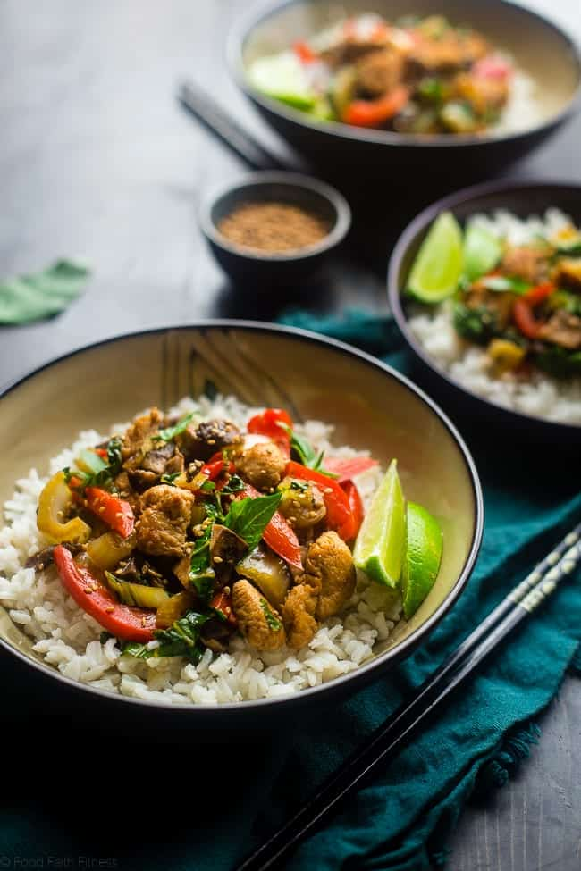 Paleo Coriander Chicken Stir Fry - This healthy chicken stir fry has fresh coriander and a spicy, sweet sauce. It's a healthy, gluten free and paleo friendly meal that's ready in 30 minutes! Perfect for busy weeknights!   Foodfaithfitness.com   @FoodFaithFit