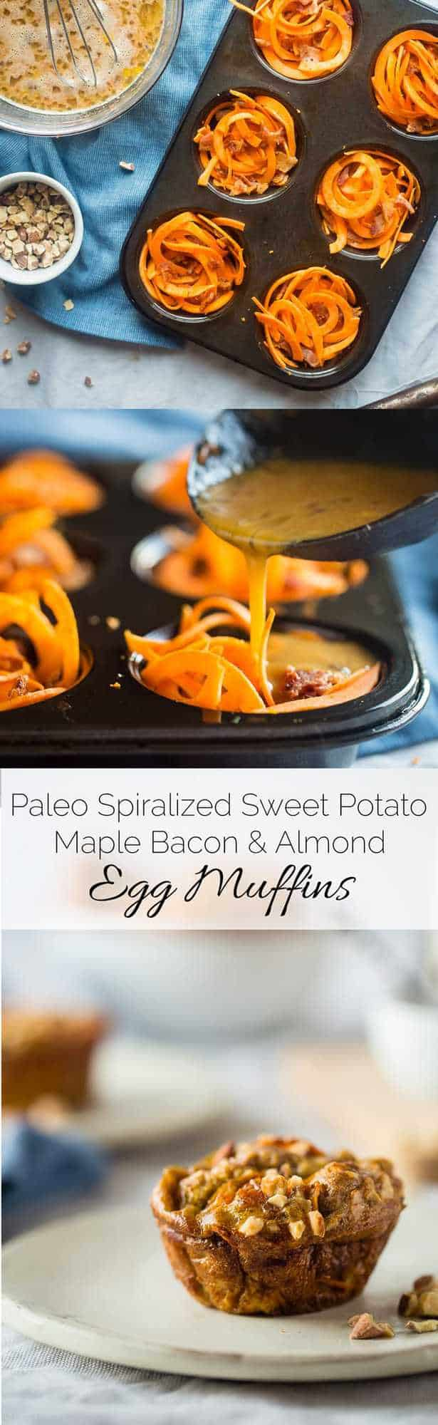 Paleo Egg Muffins with Maple Almond Sweet Potato Noodles and Bacon - A sweet and savory, portable breakfast or snack that is gluten free, protein packed, low carb and perfect for busy mornings! | Foodfaithfitness.com | @FoodFaithFit