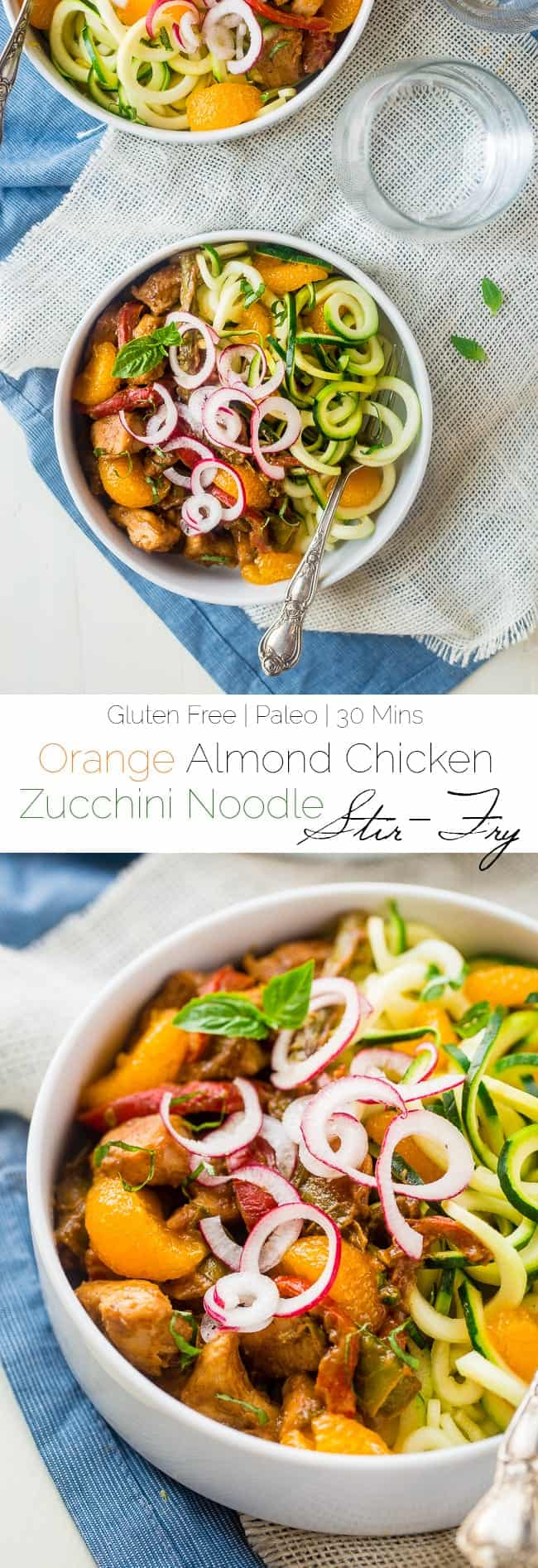 Orange Almond Chicken Stir Fry with Zucchini Noodles - This healthy chicken stir fry has spring vegetables and a creamy, orange almond & Dijon sauce. Serve it over zucchini noodles for a healthy, Whole30 compliant, easy weeknight dinner! | Foodfaithfitness.com | @FoodFaithFit