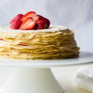 Paleo Crepes Cake With Lemon Strawberry Coconut Cream