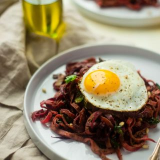 Spiralized Beet Salad with Turnips, Pesto and Fried Eggs {Whole30 + Paleo}