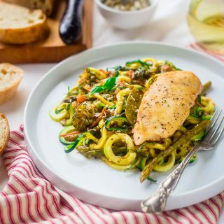 Slow Cooker Italian Chicken with Zucchini Noodles {Gluten Free + Low Carb}
