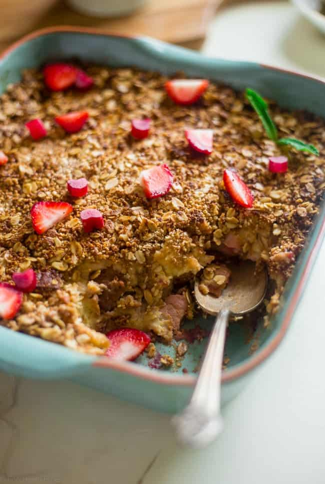Gluten Free Strawberry Rhubarb French Toast Bake - This easy french toast bake is bursting with sweet strawberries and tangy rhubarb. It's a perfect, make-ahead spring breakfast or brunch! | Foodfaithfitness.com | @FoodFaithFit