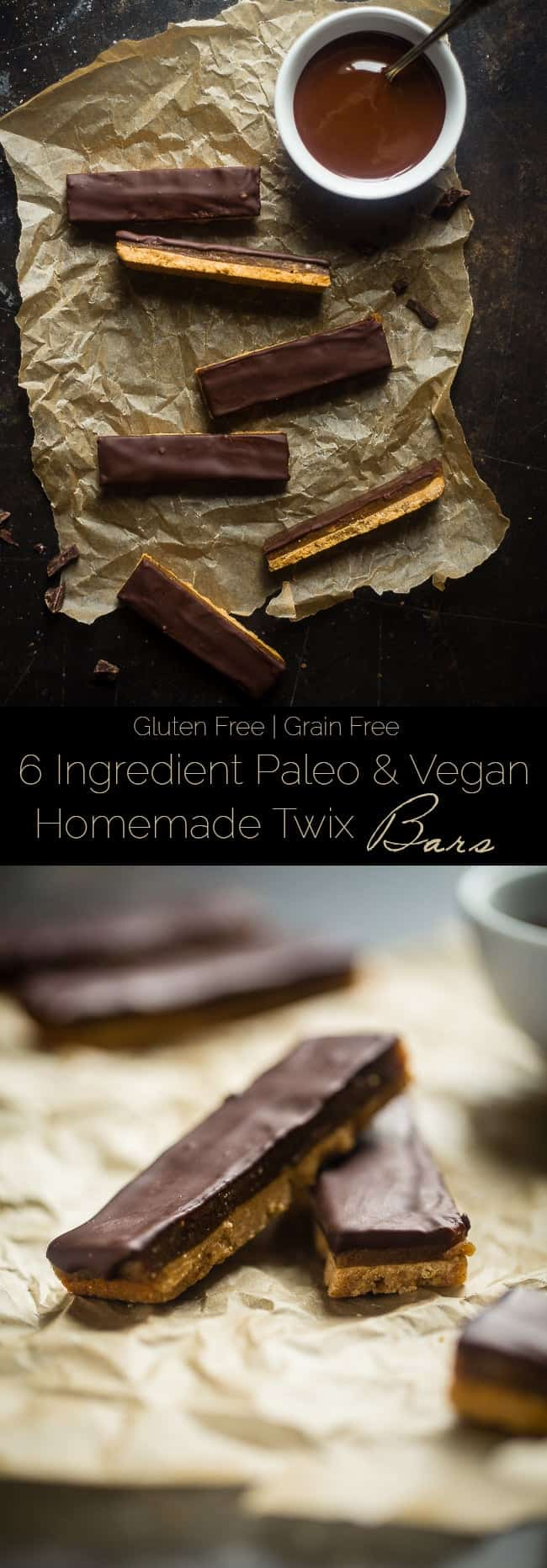 6 Ingredient Paleo and Vegan Homemade Twix Bars - You will NEVER know that these SUPER EASY homemade Twix bars are secretly healthy and gluten/grain/dairy and refined sugar free! | Foodfaithfitness.com | @FoodFaithFit