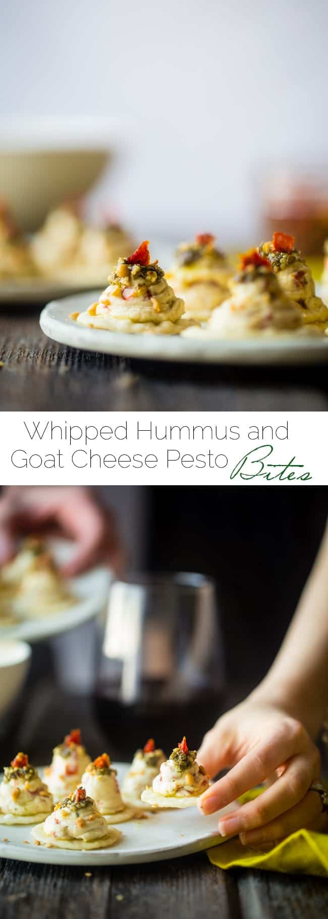 Sun-Dried Tomato Hummus and Goat Cheese Pesto Bites - These quick and easy bites use creamy goat cheese and tangy hummus! They're a healthy, spring appetizer that are only 40 calories and 1 SmartPoint! | Foodfaithfitness.com | @FoodFaithFit