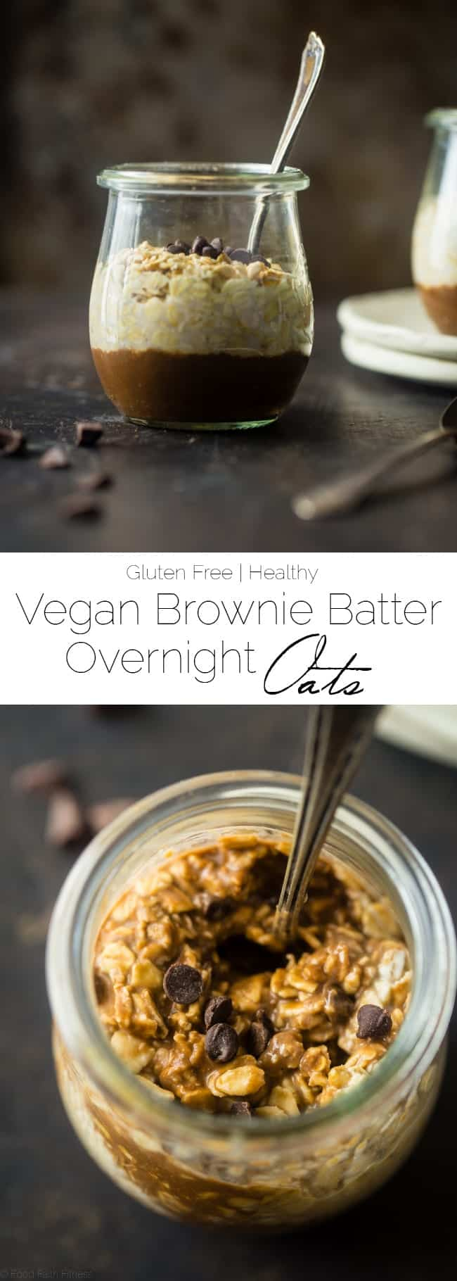 Vegan Brownie Batter Overnight Oats - These easy chocolate overnight oats taste like eating healthy, gluten free brownie batter for breakfast! They're a vegan-friendly breakfast that's ready in 10 minutes! | Foodfaithfitness.com | @FoodFaithFit