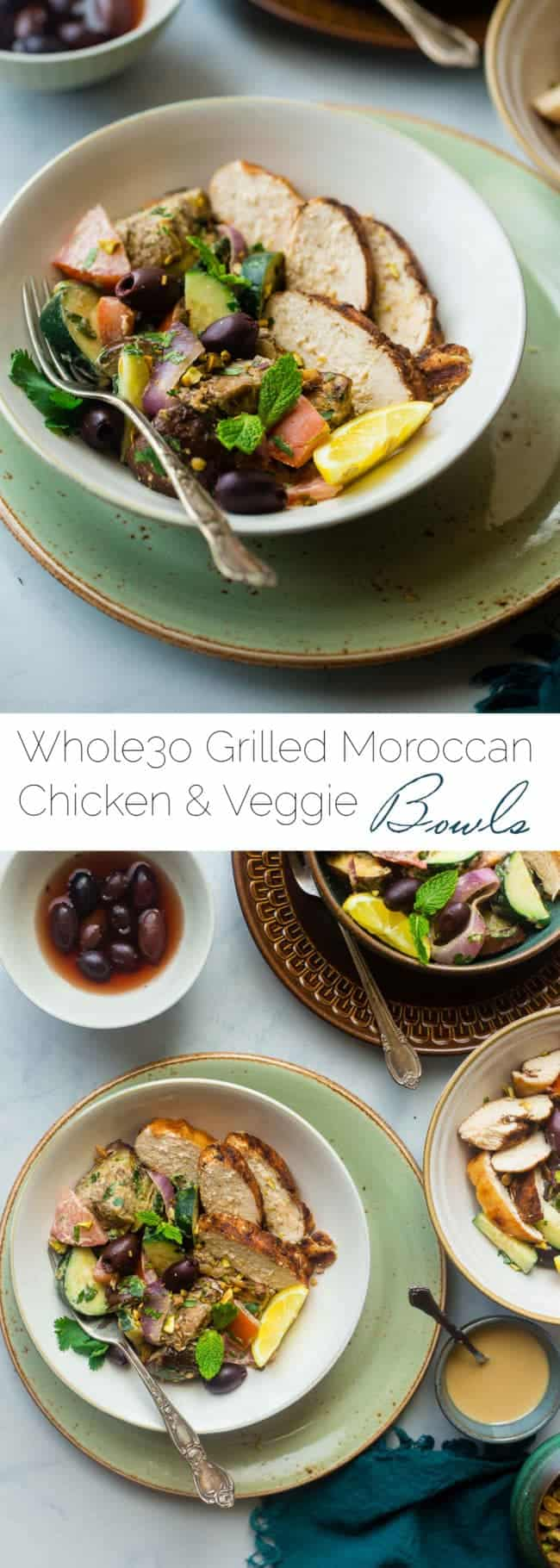 Paleo Grilled Moroccan Chicken Bowls - These grilled Moroccan chicken bowls are loaded with charred veggies, creamy tahini and spicy chicken! They're a quick and easy dinner that's paleo friendly and Whole30 compliant!   Foodfaithfitness.com   @FoodFaithFit