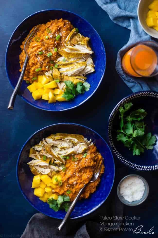 Slow Cooker Mango Chicken and Sweet Potato Bowls - This whole30 approved slow cooker mango chicken has a sweet, tropical sauce and sweet potatoes! It's a healthy, one pot meal that's perfect for busy weeknights! | Foodfaithfitness.com | @FoodFaithFit