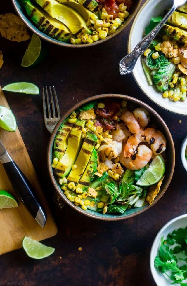 Honey Lime Grilled Avocado Shrimp Nacho Bowls
