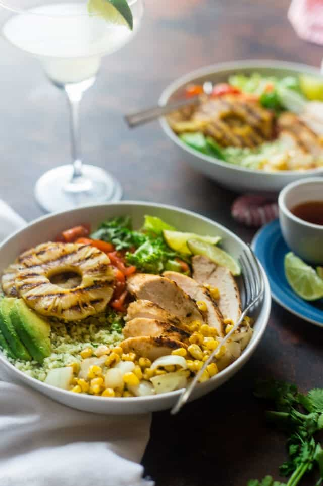 Pineapple Grilled Cauliflower Rice Mexican Chicken Bowls
