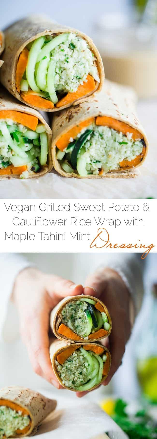 Vegan Grilled Sweet Potato and Mint Tahini Cauliflower Rice Wraps - Grilled sweet potatoes, mint tahini cauliflower rice and spiralized cucumber noodles make this easy, healthy and portable meatless meal! | Foodfaithfitness.com | @FoodFaithFit