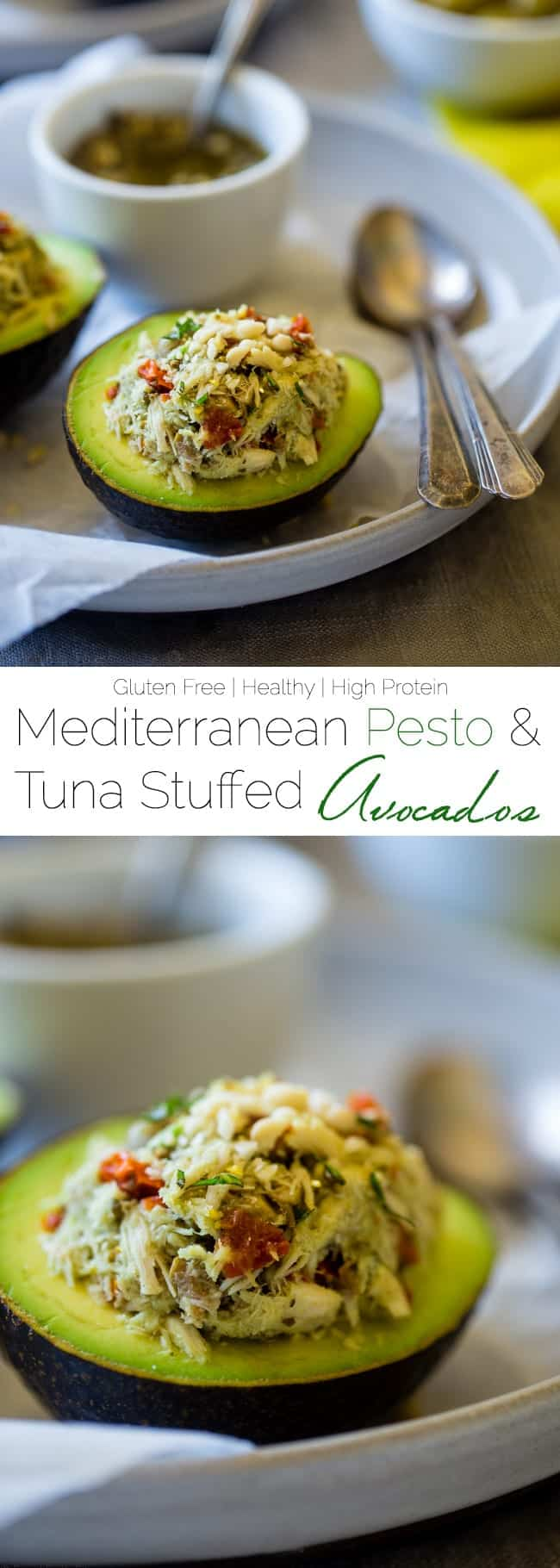 Mediterranean Healthy Tuna Salad Stuffed Avocados - This tuna salad has a Mediterranean twist and is served in an avocado! It has no mayo and is an easy, gluten free and low carb meal with only 6 ingredients! | Foodfaithfitness.com | @FoodFaithFit