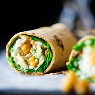 """Honey"" Garlic Roasted Chickpeas Wrap"