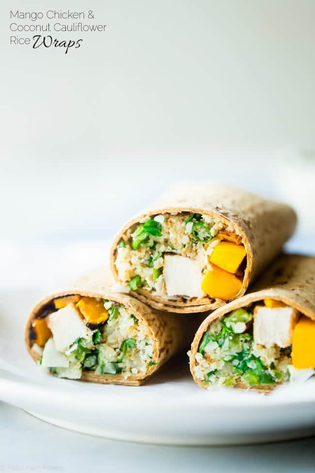 Grilled Mango Chicken Cauliflower Rice Wrap - This healthy, smoky-sweet wrap has grilled chicken, mango and ginger cauliflower rice! It's a quick and easy portable meal that's big on flavor and perfect for lunchboxes! Gluten free option included! | Foodfaithfitness.com | @FoodFaithFit
