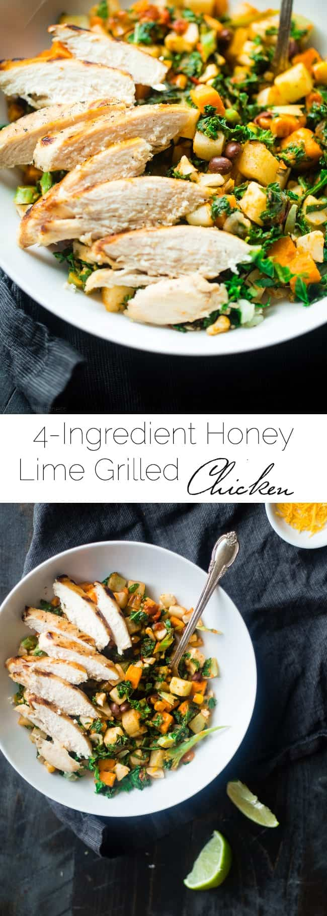 4 Ingredient Honey Lime Grilled Chicken - This easy honey lime chicken only uses 3 ingredients and is ready in 15 minutes! It's a healthy, protein packed and gluten free addition to your next dinner! | Foodfaithfitness.com | @FoodFaithFit