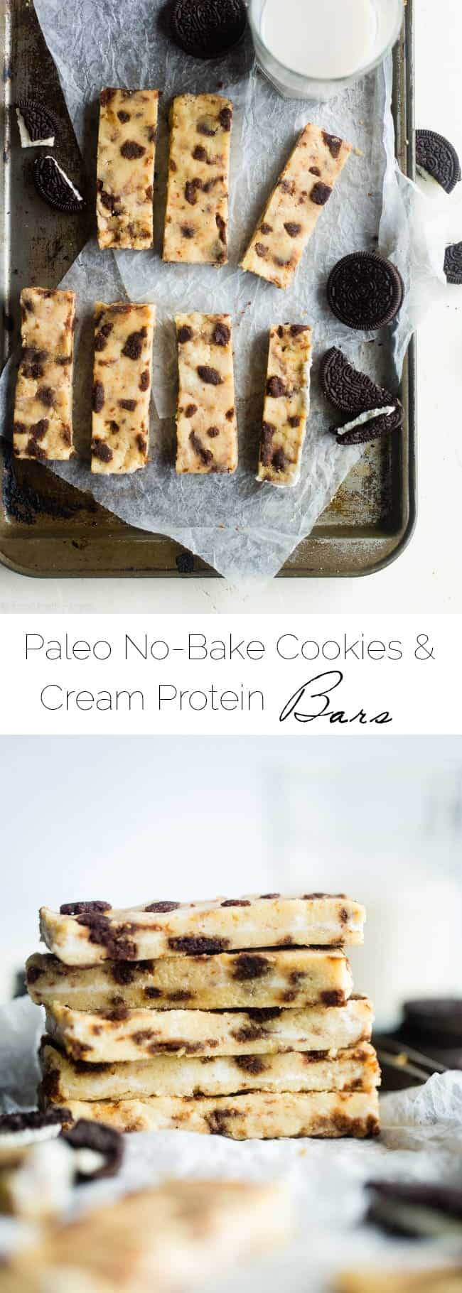 No-Bake Cookies and Cream Paleo Protein Bars - These no-bake cookies and cream paleo protein bars taste like the classic cookie! They're a healthy, gluten free and portable snack for busy days or back to school lunch boxes, that are so easy to make! | Foodfaithfitness.com | @FoodFaithFit