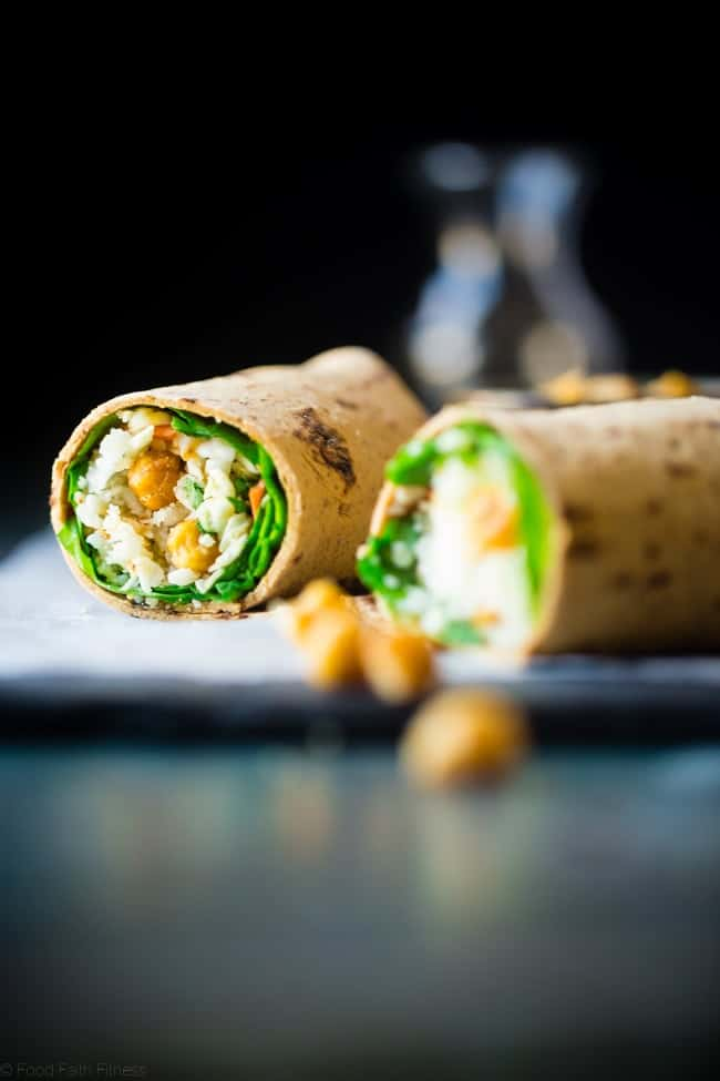"Vegan ""Honey"" Garlic Chickpea and Cauliflower Rice Wrap - This healthy wrap has an Asian flair with crunchy ""honey"" garlic roasted chickpeas and cauliflower rice! It's a quick and easy, portable and vegan friendly meal that's perfect for lunchboxes! Gluten free option included! 