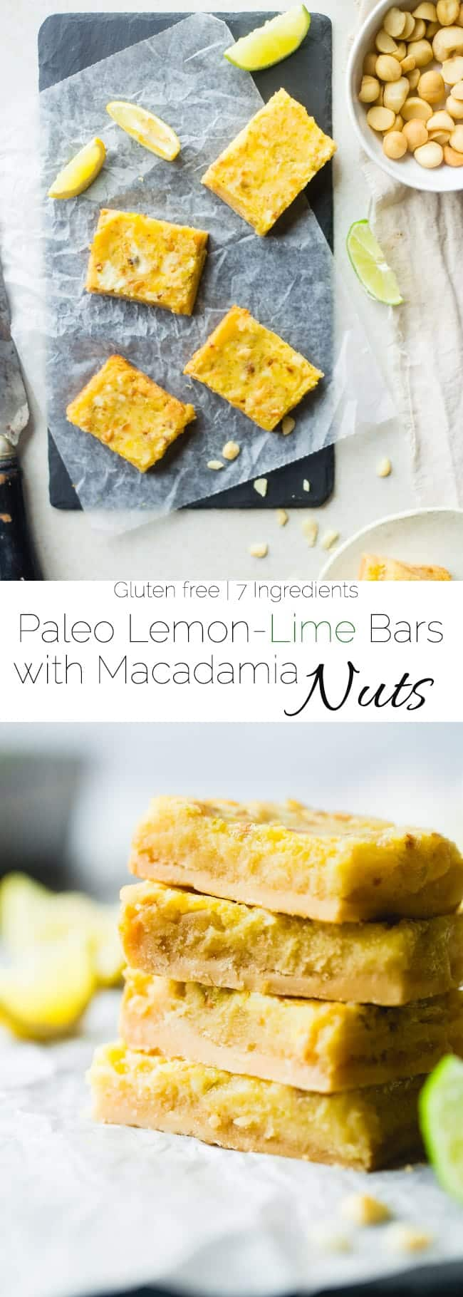 Tropical Paleo Lemon Bars - These paleo lemon bars use lime juice and macadamia nuts to give the classic dessert a tropical twist. They're a healthier, gluten and grain free dessert that's only 7 ingredients and so easy to make! | Foodfaithfitness.com | @FoodFaithFit
