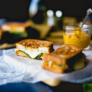 Gluten Free Grilled Cheese Hummus Sandwich with Pumpkin