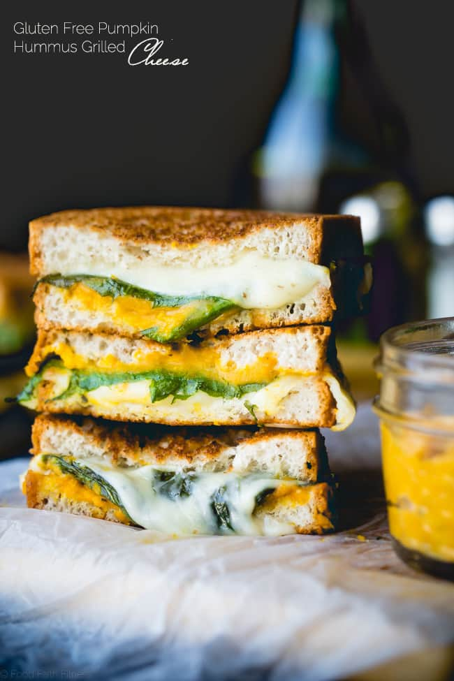 Gluten Free Pumpkin Hummus Grilled Cheese - This gluten free grilled cheese sandwich has the creamy, flavor of pumpkin! It's a healthier version of the classic sandwich that's perfect for fall lunches or dinners!   Foodfaithfitness.com   @FoodFaithFit