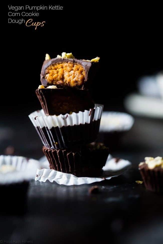 Pumpkin Edible Cookie Dough Cups with Kettle Corn