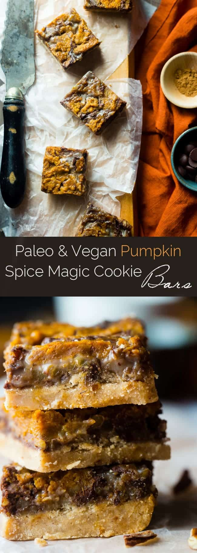 Vegan Pumpkin Spice Paleo Magic Cookie Bars - A healthier, dairy and ...