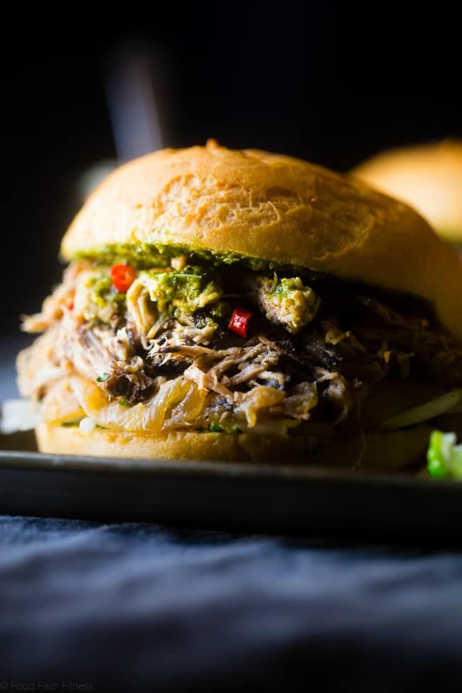 """Pho"" Slow Cooker Pulled Pork Sandwiches - They have all the taste of the Vietnamese soup, but in a healthy, gluten free sandwich! They're the perfect, easy weeknight meal that the whole family will love! 