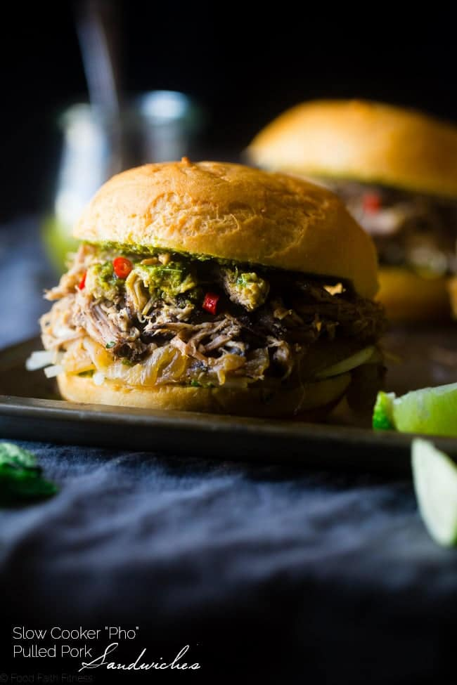 """""""Pho"""" Slow Cooker Pulled Pork Sandwiches - They have all the taste of the Vietnamese soup, but in a healthy, gluten free sandwich! They're the perfect, easy weeknight meal that the whole family will love!   Foodfaithfitness.com   @FoodFaithFit"""