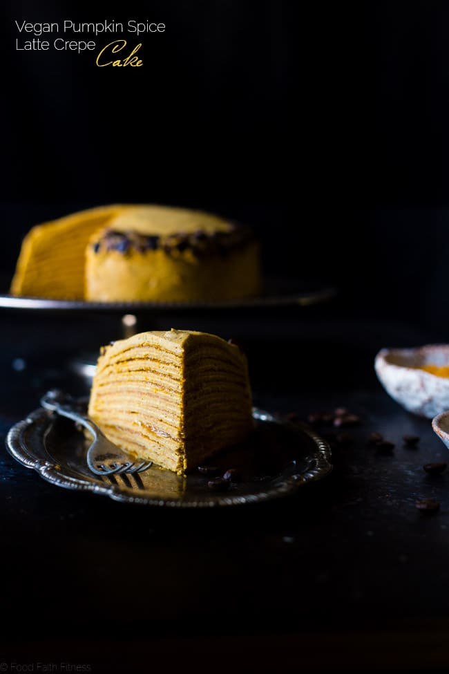 Vegan Pumpkin Spice Latte Crepe Cake - This Vegan Crepe Cake tastes like a pumpkin spice latte with a touch of coconut! It's an impressive, gluten free dessert for the holidays that's under 250 calories a slice! | Foodfaithfitness.com | @FoodFaithFit
