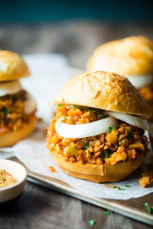 Vegan Sloppy Joes - You will never believe that this quick and easy, one-pot dinner uses cauliflower instead of meat! They're a healthy, gluten free, crowd pleasing dinner that's ready in under 30 mins and are under 300 calories! | Foodfaithfitness.com | @FoodFaithFit