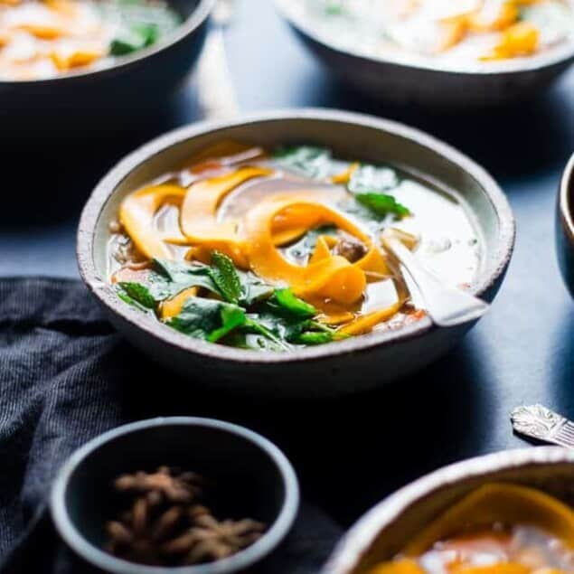 Paleo Thai Crock Pot Chicken Noodle Soup - A Thai twist on the classic with butternut squash noodles so it's gluten free, under 300 calories and 3 SmartPoints! A low-carb option is included! | Foodfaithfitness.com | @FoodFaithFit