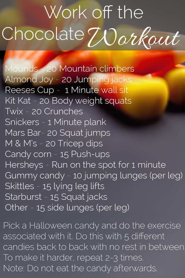 Work Off The Chocolate Workout - Got lots of extra Halloween candy? Use it to create this fun, quick at-home full body workout! No equipment needed! | Foodfaithfitness.com | @FoodFaithFit