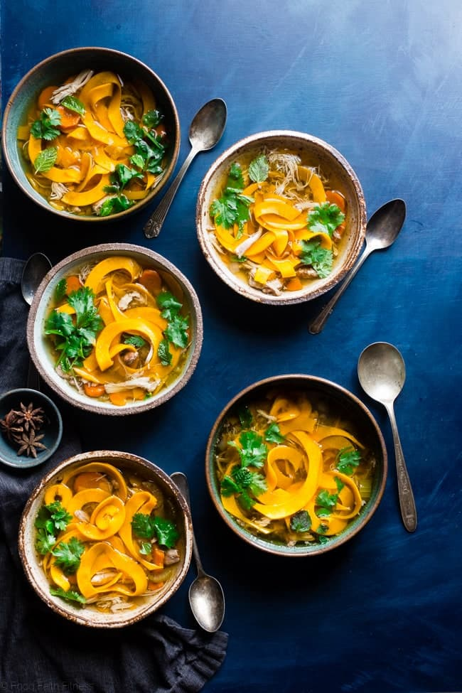 Thai Paleo Crockpot Chicken Soup - A Thai twist on the classic with butternut squash noodles so it's gluten free, under 300 calories and 3 SmartPoints! A low-carb option is included! | Foodfaithfitness.com | @FoodFaithFit
