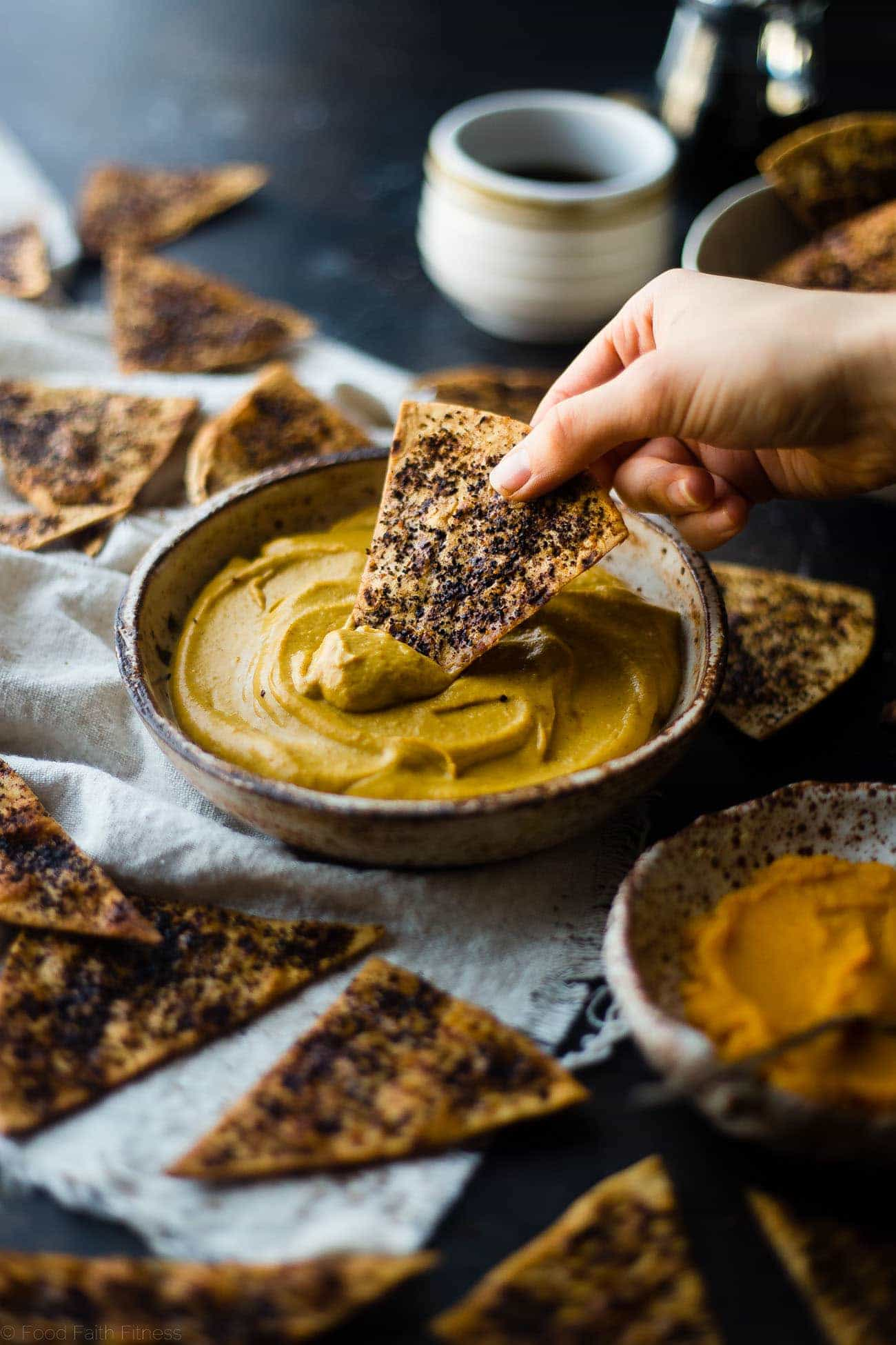 Vegan Pumpkin Spice Latte Dip - This easy healthy pumpkin pie dip is served with baked coffee chips so it tastes like a pumpkin spice latte! It's a healthy holiday dessert that is so simple to make! | Foodfaithfitness.com | @FoodFaithFIt