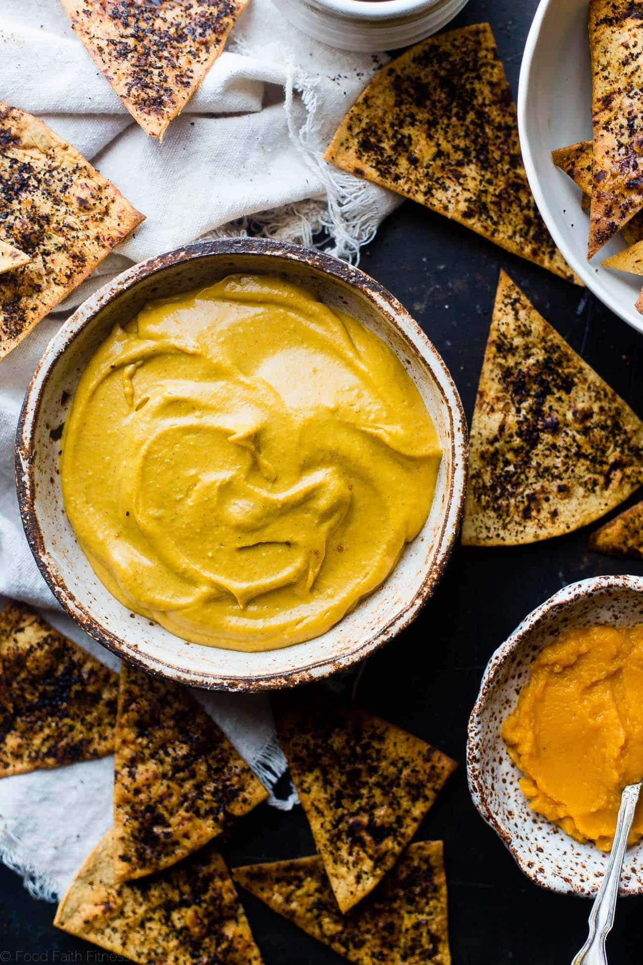 Vegan Pumpkin Pie Dip - This easy healthy pumpkin pie dip is served with baked coffee chips so it tastes like a pumpkin spice latte! It's a healthy holiday dessert that is so simple to make! | Foodfaithfitness.com | @FoodFaithFIt