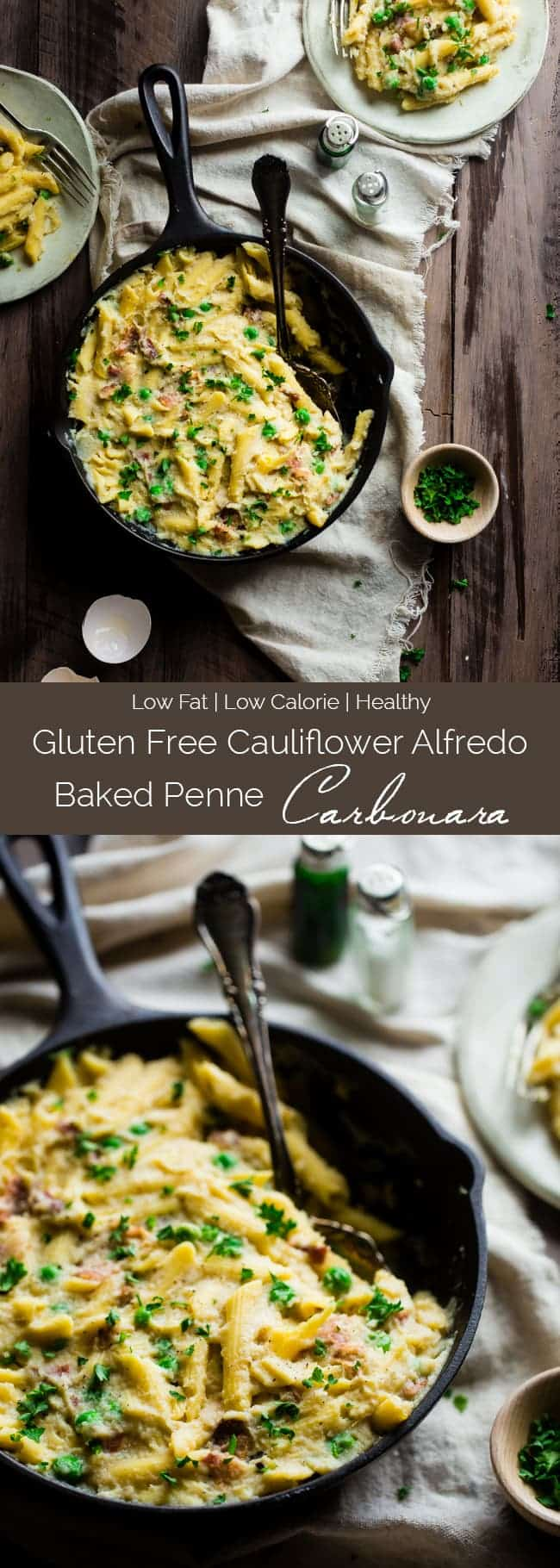 Cauliflower Alfredo Baked Penne Carbonara Food Faith Fitness