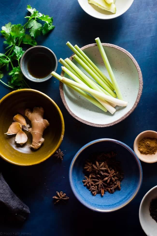 Paleo Thai Crock Pot Chicken Noodle Soup - A Thai twist on the classic with butternut squash noodles so it's gluten free, under 300 calories and 3 SmartPoints! A low-carb option is included! | Foodfaithfitness.com | @FoodFaithFit
