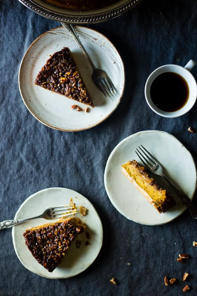 Vegan and Paleo Pecan Pie Pumpkin Cheesecake - A pecan pie filling sits on top of a creamy, pumpkin cheesecake in this show stopping dessert for the holidays! You'll never guess it healthy and gluten/dairy/egg free! | Foodfaithfitness.com | @FoodFaithFit