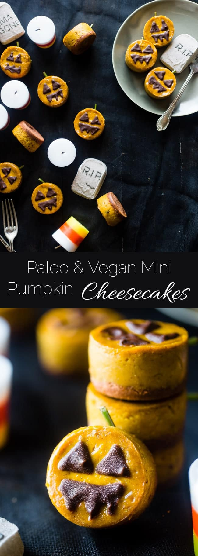 Vegan Mini Pumpkin Jack-O-Lantern Cheesecakes - These pumpkin vegan cheesecakes are easy to make, and are perfect for Halloween! They're healthy, gluten free, paleo friendly and only 200 calories! | Foodfaithfitness.com | @FoodFaithFit
